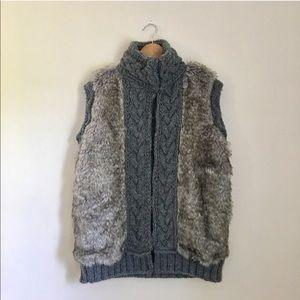 Zara Faux Fur Cable Knit Sweater Vest Size Large